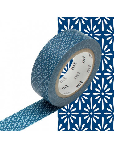 Masking tape - Fleurs bleu