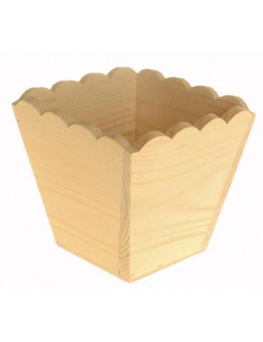 Cache pot en bois bords ondulés 11x11x10cm