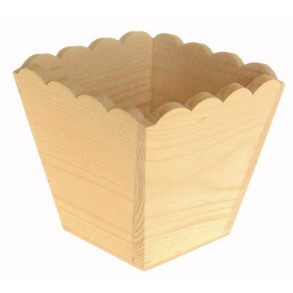 cache pot en bois 11x11x10 cm cache pot en bois pas cher support d corer loisirs cr atifs. Black Bedroom Furniture Sets. Home Design Ideas