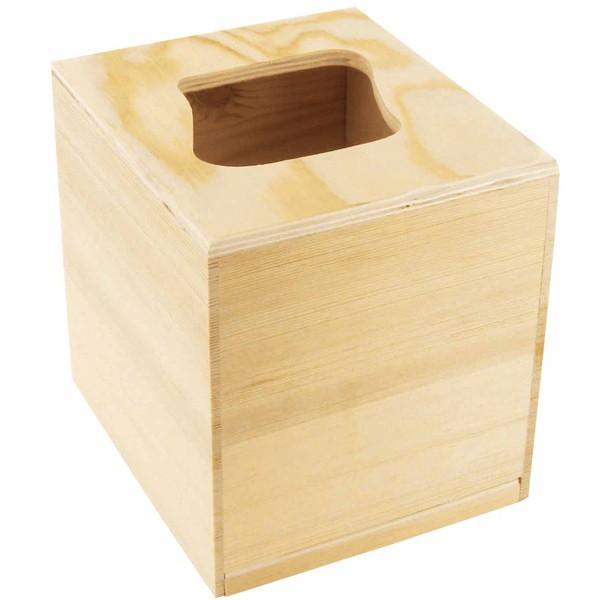 Support bois d corer boite mouchoirs bois carr - Boite mouchoir bois ...