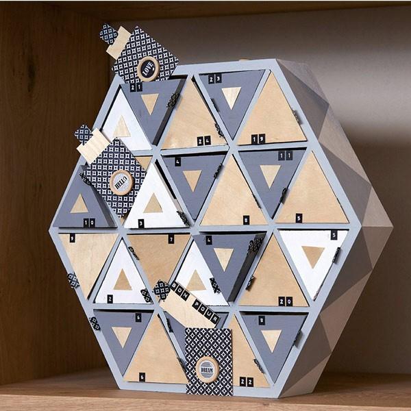 Calendrier de l 39 avent en bois hexagonal 36cm artemio - Calendrier de l avent a decorer ...