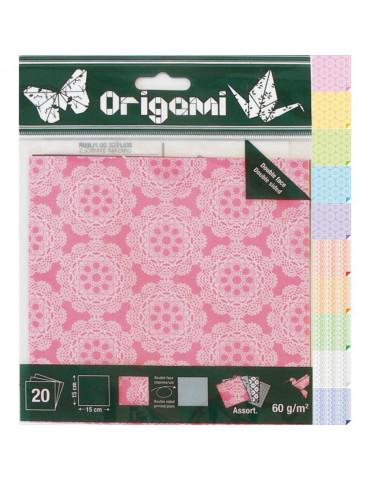 Papier origami Dentelle 15x15cm - 20 feuilles