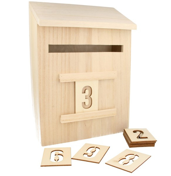 calendrier de l 39 avent en bois boite aux lettres de l 39 avent 28cm artemio. Black Bedroom Furniture Sets. Home Design Ideas