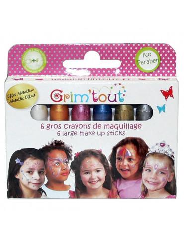 Crayons maquillage Grim'tout jumbo - Couleurs métallisées x6