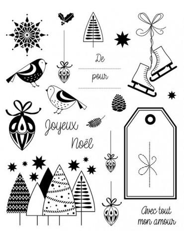 Tampons transparents - Noël classique