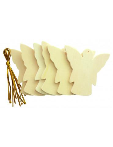 Set 6 silhouettes bois Ange 6cm