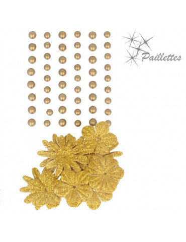 Fleurs papier pailletées + perles nacrées - Or