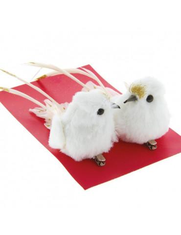 Oiseaux décoratifs Blanc/Or x2