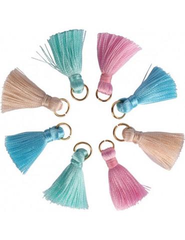 Mini pompons bijoux - Assort. pastel 3mm - 12 pièces