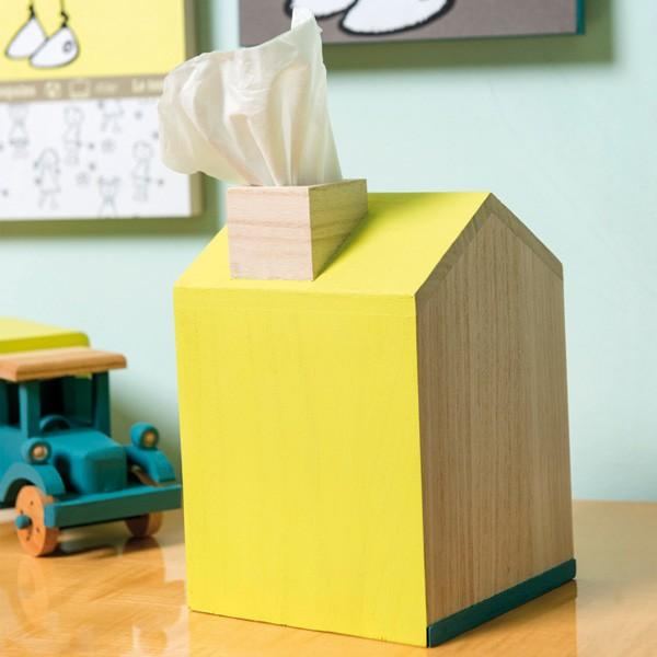 Boite mouchoirs en bois d corer forme maison 13x13x20cm - Boite a mouchoirs maison ...