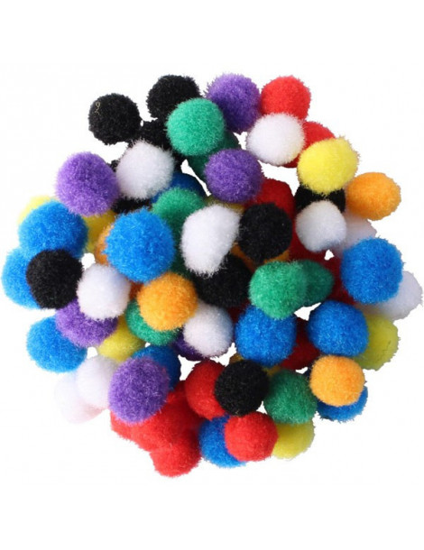 Mini pompons 8mm - Couleurs vives x200