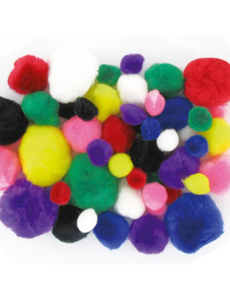 Pompons assortis x48 - 15mm-25mm-35mm
