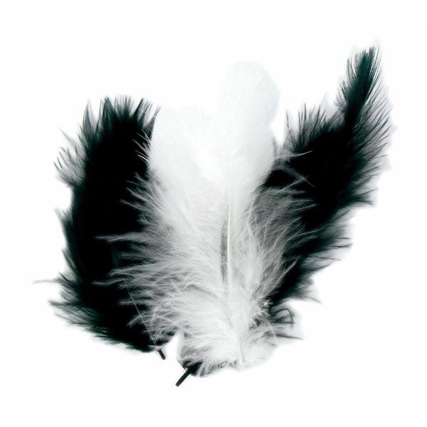 Plumes Marabout - Noir & blanc x50