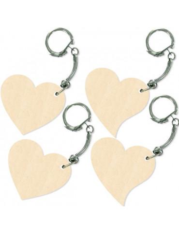 Porte-clé bois Coeur 5cm x4