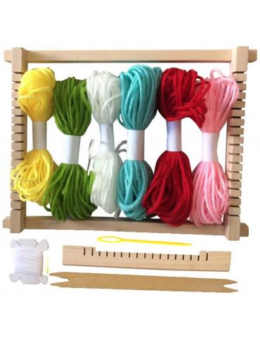 Métier à tisser en bois + 6 pelotes de laine