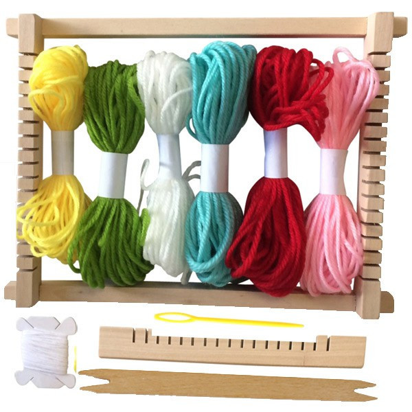 Métier à tisser en bois + Pelotes de laine - 23,5x17,5cm