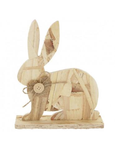 Lapin assis en bois - A poser - 12x18cm