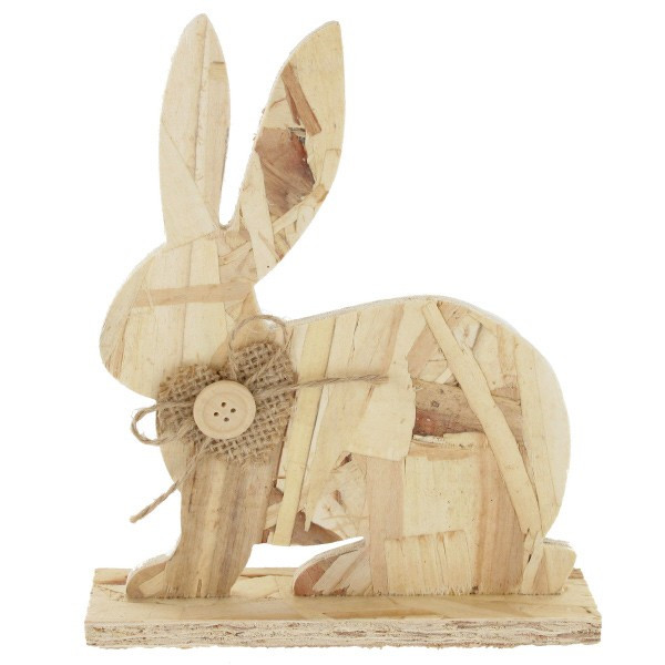 lapin assis en bois compresser poser 12x18cm d coration de p ques. Black Bedroom Furniture Sets. Home Design Ideas