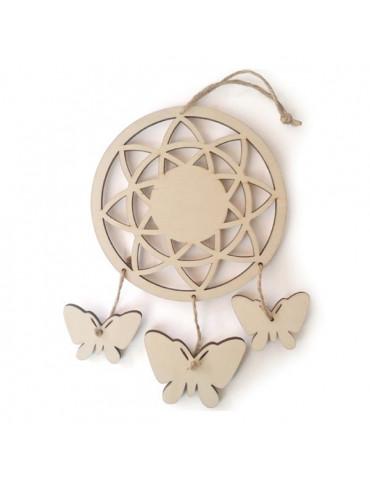 Attrape-rêves Papillons en bois - 21,5cm