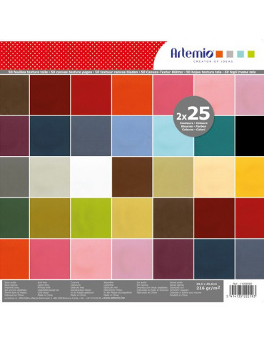 Bloc papiers scrapbooking Texturés Toile - 50 papiers unis 30,5x30,5 - Artemio