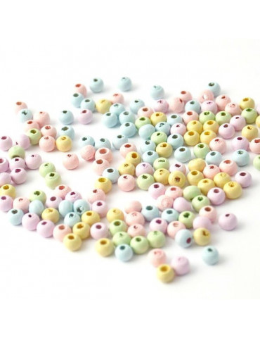 Perles bois Pastel 6mm x125