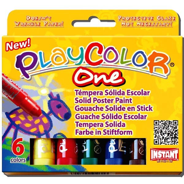 Playcolor One - Boite 6 sticks de Gouache solide - Instant