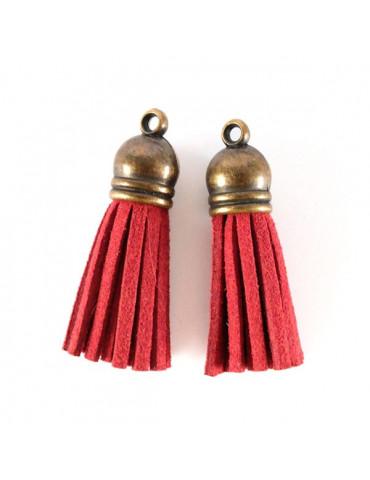 Pompon suédine Rouge - 4cm - 2 pièces