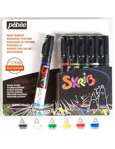 Marqueur peinture acrylique - 6 feutres SKRIB Classiques - Pébéo