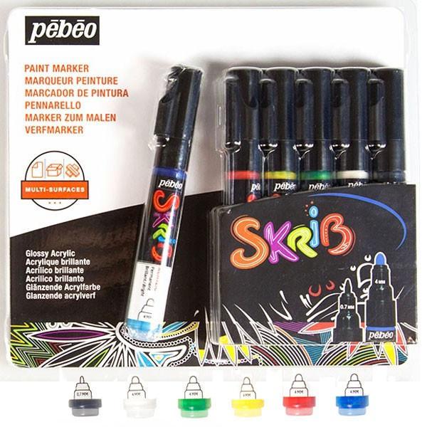Marqueur peinture acrylique - 6 feutres SKRIB Classique - Pébéo