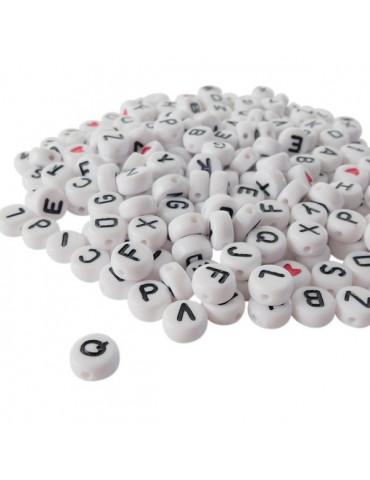 Perles alphabet blanches x250