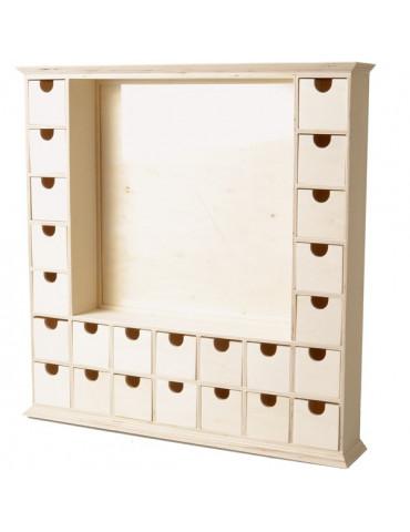 Calendrier Avent en bois carré - 44cm