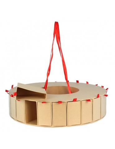Calendrier de l'avent circulaire en carton craft - 44x10cm