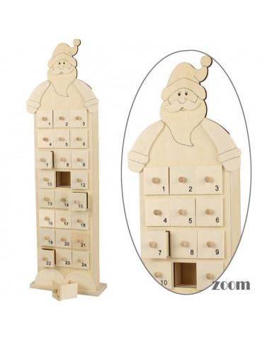 Calendrier de l'avent en bois Père Noël - 48x14cm