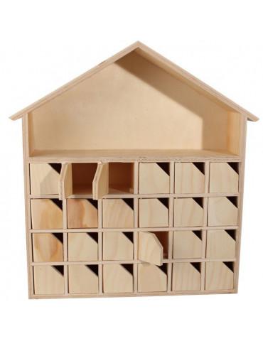 Calendrier de l'Avent - Maison en bois avec portes - 34cm