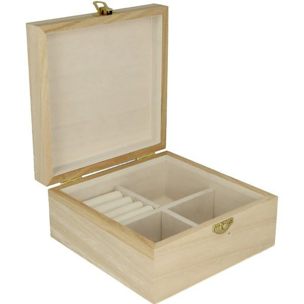 Boite à bijoux en bois - 16x16x8cm