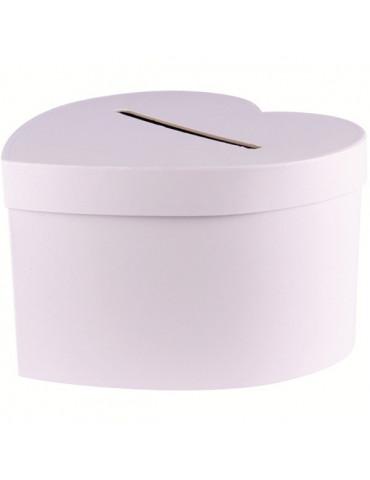 Urne coeur en carton blanc - 24,5x15 cm