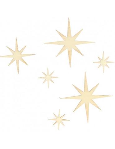 Silhouettes bois Etoiles x30 - 3 dimensions