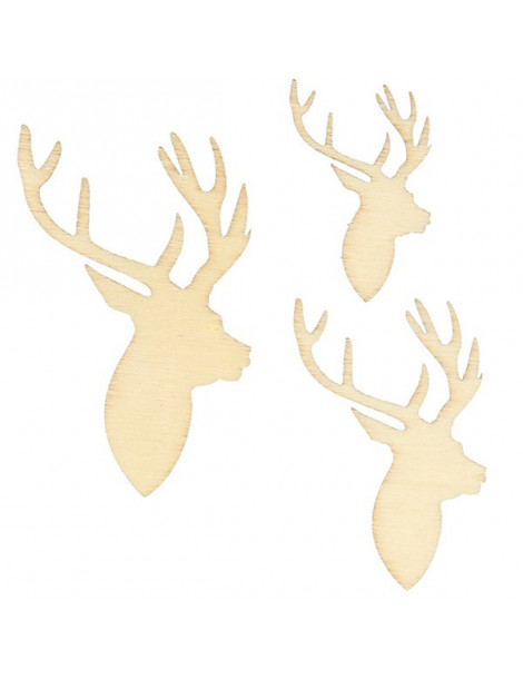 Silhouettes bois Cerf x30 - 3 dimensions