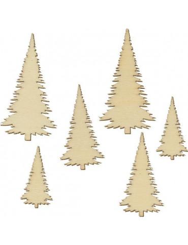 Silhouettes bois Sapins x30 - 3 dimensions