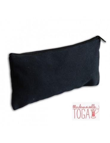 Trousse plate zip Noir -  22x11cm - Mle Toga