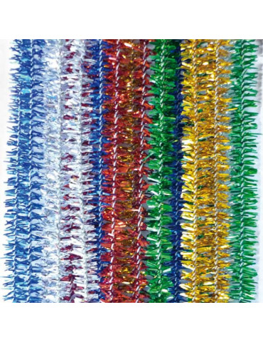 Fils chenille métallisés 8mm x20 - 5 couleurs
