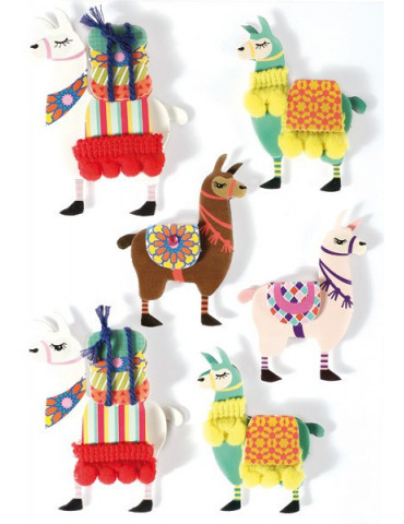 Stickers 3D Lama 60mm x6
