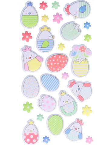 Stickers Puffies Oeufs de Pâques - Artemio