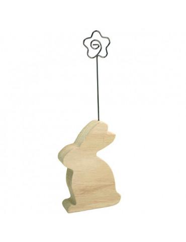 Marque-place bois lapin - Tige métal fleur - 5,5c8c2cm