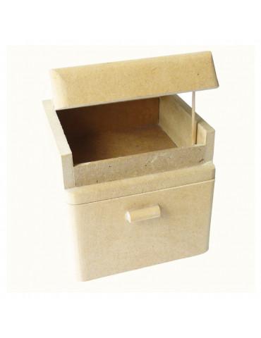 Boite cube bois medium avec tiroir bois - 8,5x8x8 cm