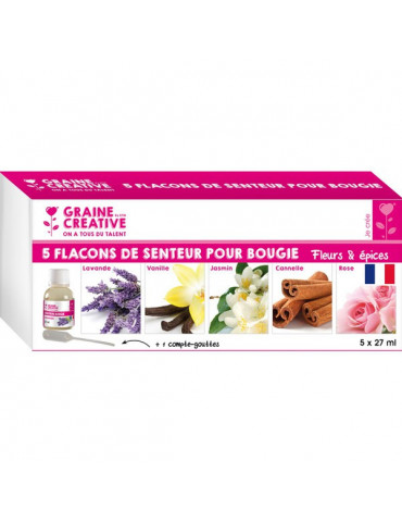 Parfum bougie et savon - Fleurs & Epices - 5x27ml