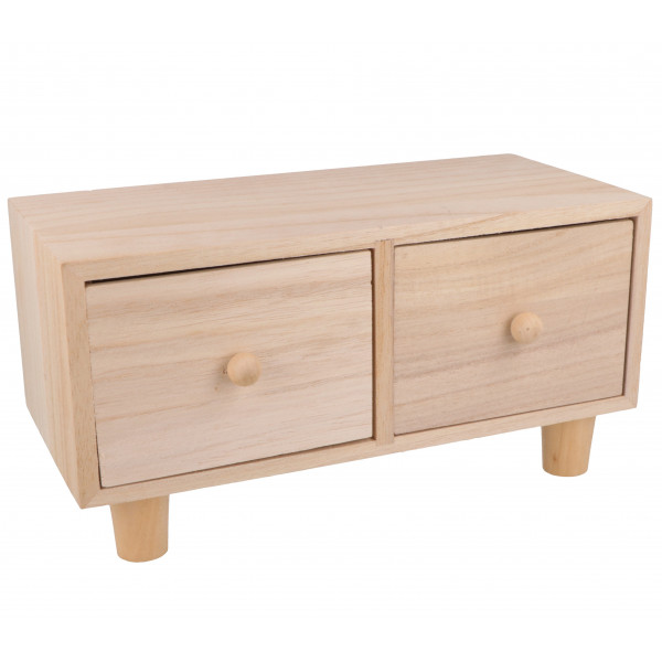Meuble en bois 2 tiroirs - 23x11x12 cm - Artemio