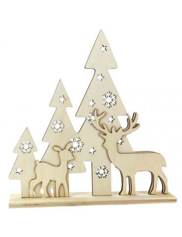 Mini scène de noël en bois à poser - Sapins et cerf - 26x25x4,5cm