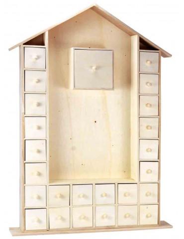 Calendrier de l'Avent en bois - Maison 66cm