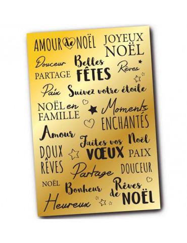 Stickers transfert Noël - Messages voeux - Or métallisé